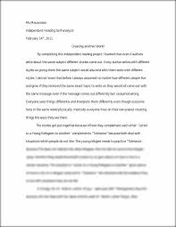 independent reading self analysis essay ms meuwissen independent  this preview has intentionally blurred sections sign up to view the full version