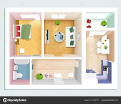 modern graphic apartment top view bedroom living room kitchen hall and bathroom