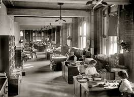 a typical office at the turn of the 20th century century office