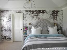 Brick Wall Decorating In Modern Contemporary Bedroom With King Size Of  Headboard Also White Pillows Also ...