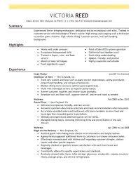 Resume For Server Delectable Resume Sample For Restaurant Server Waiter Resume Stunning R