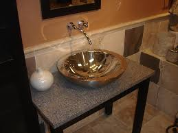 Elegant Small Bathroom Ideas With Cool Round Stainless Steel Vessel Sink On  Marble Top Vanity Table Also Chrome Faucet Sink Bowls On Top Of Vanity56