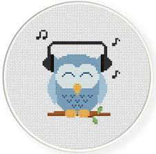 Owl Cross Stitch Pattern Beauteous Music Lover Owl Cross Stitch Pattern Daily Cross Stitch