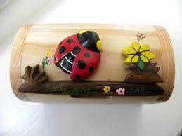 handcrafted wooden ladybird money box