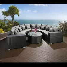 Luxury Outdoor Garden U Shape 8 Seater Sofa Group Black Rattan ...