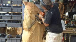 chainsaw wood carving artist a horse head evergreen state fair monroe wa usa you
