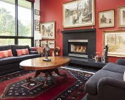 Inspiration for an eclectic living room remodel in Vancouver with red walls