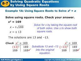 example 1a using square roots to solve x2 a