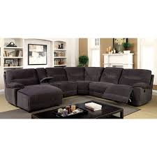 l shaped furniture. Furniture Of America Colen Reclining Chenille Fabric Grey L-shaped Family Sectional L Shaped