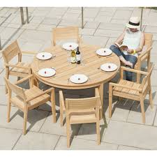 roble round table outdoor dining furniture set 6 person