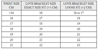 Bracelets Size Guide Cartier Love Bracelet Replica Van