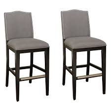 ahb chase tall bar stool black with smoke linen upholstery set of 2 hayneedle
