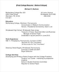 College Resume Example 8 Samples In Word Pdf
