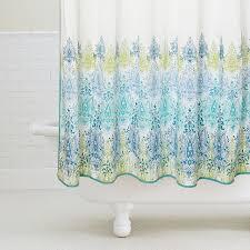blue green print shower curtain