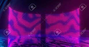 Neon Light Spectrum 3d Rendering Abstract Screen Pixels Glowing Dots Neon Lights