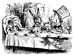 tenniel drawing of alice with hatter and hare