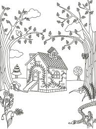 Cottage In The Woods Coloring Page