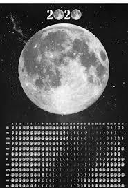 Lunar Calendar 2020, Moon Phase Wall Calendar, Galaxy Print ...