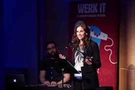 "the modern love podcast lauren molina amirah vann and michaela  the actress michaela watkins reads the essay ""what shamu taught me about a happy marriage"" during wnyc studios werk it podcast festival"