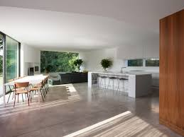 Open Kitchen Dining Living Room Concrete Floor Living Room Small Kitchen Dining Living Open