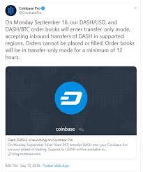 Live Coinbase Chart Coinbase Are Set To List Dash On Coinbase Pro