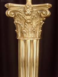 brass corinthian column table lamp silk shade antique lighting table lamps