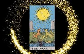 The basic card symbols are a full moon (with a crescent within), twin pillars, a dog and a wolf howling, a stream that runs to the ocean, and a crayfish emerging from the water. Understanding Tarot The Moon Forever Conscious