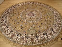 luxury gold persian qum silk rug 639 round shape rugs
