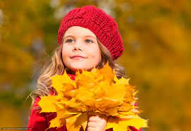 Download wallpaper small, girl, autumn ...