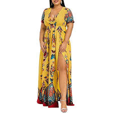 Kcatsy Plus Size Dress High Waist Maxi Slit At Amazon