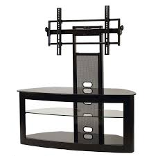 transdeco glass tv stand with mounting system for 35 65 inch screens black td600b