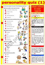 Check out the color personality pointers below! Personality Quiz What Colour Is Your Heart Esl Worksheet By Evadp75