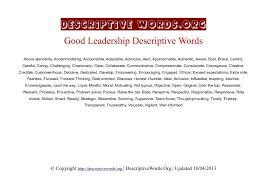 Leadership Essay Example Beauteous Descriptive Words For Leadership Descriptive Words List Of