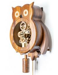 wooden wall clock owl with pendulum and