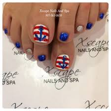 Blue And Silver Toe Nail Designs Pretty Pedicure Nautical Theme Red White Stripes With A