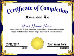 Certificate Of Completeion Certificate Of Completion Template Postermywall