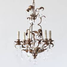 vintage iron chandelier decorated with 30 lead crystal