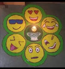 Easy Cartoon Rangoli Designs Emoji Rangoli Rangoli Kolam Designs Rangoli Designs
