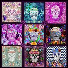 Sugar Skull Quilt Design Dia De Los Muertos Bedding – Sugar Skull ... & Purple Quilt Panel Sugar Skull Bedding Design Adamdwight.com