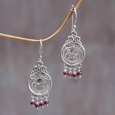 garnet dangle earrings bali melody sterling silver garnet chandelier earrings
