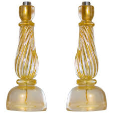 pair of italian murano table lamps attributed to seguso circa 1960s