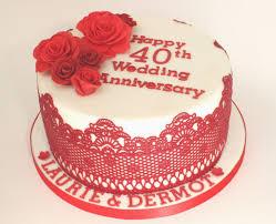 40th Wedding Anniversary Cake Designs Ruby Wedding Anniversary Cake