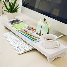 over the keyboard desktop organizer wooden plastic desktop storage stand for home office use white