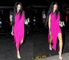 Rihanna Wore Long pink dress, pair of white claw Christian Louboutin shoes.  Pink Lipstick