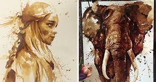 coffee art painting. Interesting Art I Use Coffee To Draw Detailed Paintings Of My Favourite Characters  Bored  Panda Inside Art Painting U