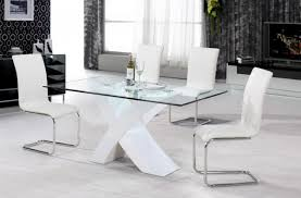 glass dining table with white chairs  ciov