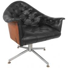 furniture mid century wooden swivel chair with black tufted leather seat and chrome metal feet
