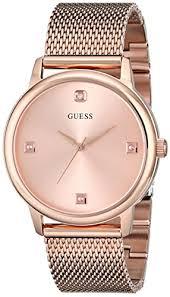 guess men s u0280g2 dressy rose gold tone watch plain rose guess men s u0280g2 dressy rose gold tone watch plain rose gold dial and mesh