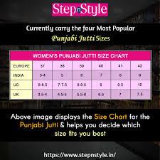 Mojari Size Chart Take A Look At Size Chart Of All The Womens Punjabi Jutti