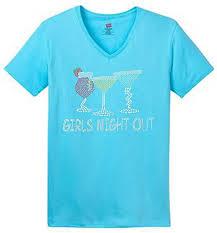 Hanes Women S T Shirt Size Chart Rhinestone Coctail Glasses Wine Girls Night Out Womens V Neck T Shirt